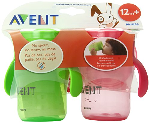 Philips AVENT BPA Free Natural Drinking Cup, Pink and Green, 9 Ounce, 2-Count (Discontinued by Manufacturer) - 1