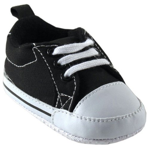 Luvable Friends Basic Canvas Sneaker, Black, 0-6 months