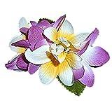 HAWAIIAN SILK PURPLE & WHITE PLUMERIA HAIR FLOWER CLIP