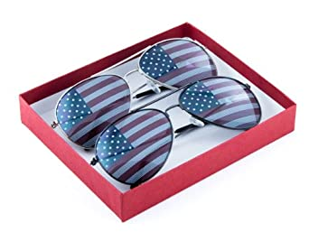 P&P Inc. American Flag Aviator Sunglasses Glasses Box Set