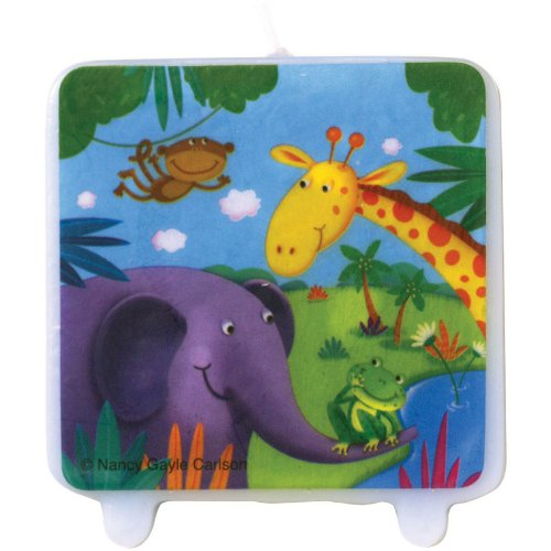 Creative Converting Jungle Buddies Printed Candle - 1
