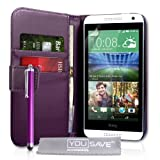 Yousave Accessories HTC Desire 610 Case Purple PU Leather Wallet Cover With Stylus Pen
