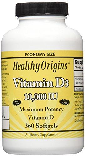Healthy Origins Vitamin D3 10,000 IU (Non-GMO), 360 Softgels (Vitamin D 10000 Iu compare prices)