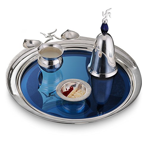 Ep-3500-20868 Atulya Pooja Thali With A Swastika Bell, Container For Tikka And A Small Glass, Designer Silver Plated Puja Thali Set Of 4 Pcs, Lacquer Finish And Silver Plated Brass Puja Thali, Festive Prayer Thali
