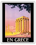 En Grèce (in Greece) - Ancient Temple of Zeus - Athens, Greece - Vintage World Travel Poster by Pierre Commarmond c.1930s - Fine Art Print - 16in x 20in