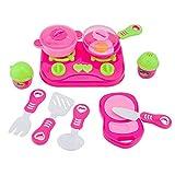 Finer Shop 11Pcs Cocina de Juguete Rosa Casa Niños Platos de Preparar la Comida Vajilla Fingir Jugar Set de Juego de Cocina