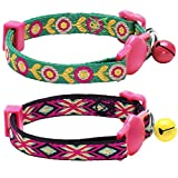 Blueberry Pet Adjustable Breakaway Ethnic Inspiration Cat Collar with Embroidered Flora Pattern, Small, Pink, Yellow and Rose