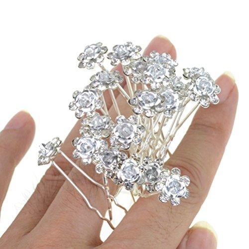 Rbenxia Bridal Wedding Crystal Hair Pins Bridal Prom Clips Pack of 20pcs White