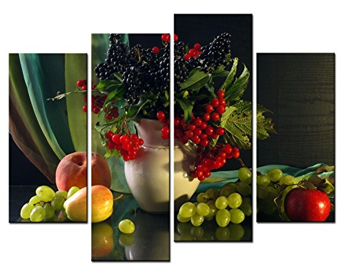 SmartWallArt - Food Paintings Wall Art a Lot of Berries in the Vase 4 Pieces Picture Print on Canvas for Modern Home Decoration (Food And Beverage Wall Art compare prices)