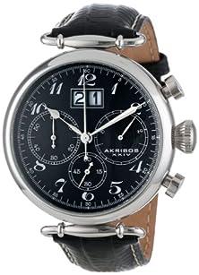 buy Akribos Xxiv Men'S Ak628Bk Retro Chronograph Stainless Steel Black Dial Black Leather Strap Watch