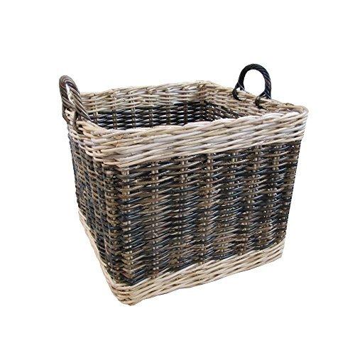 Picnic Basket Lakeland : Two tone rattan square wicker log basket large by katie