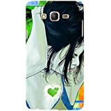 For Samsung Galaxy On5 (2015) :: Samsung On 5 Beautiful Girl ( Beautiful Girl, Nice Girl, Girl, Cartoon, Girl, Blue Background, Green Heart, Heart ) Printed Designer Back Case Cover By FashionCops