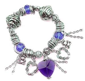 Expandable Antique Silver Colour Metal Bracelet With Purple Acrylic Beads & Multi Charms