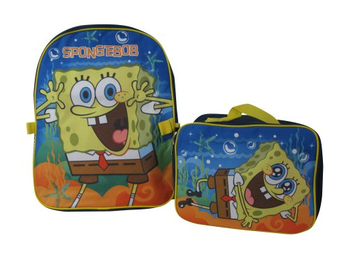 """Nickelodean Junior 15"""" Spongebob Squarepants Backpack With Detachable Lunch Box front-1025470"""