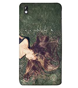 Printvisa Premium Back Cover Relaxing Girl With A Perfect Day Quote Design For HTC Desire 816::HTC Desire 816 G