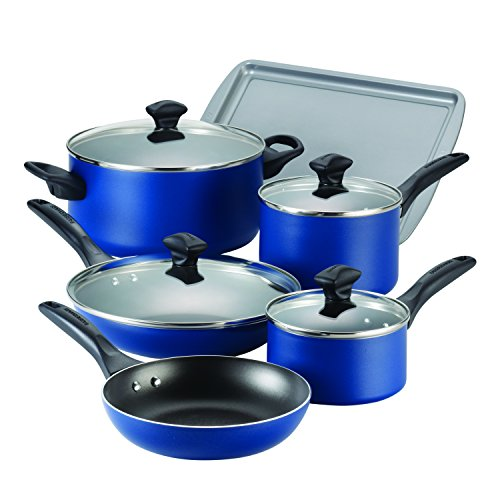 Farberware Dishwasher Safe Nonstick Aluminum 15-Piece Cookware Set, Blue (Blue Pot And Pans compare prices)