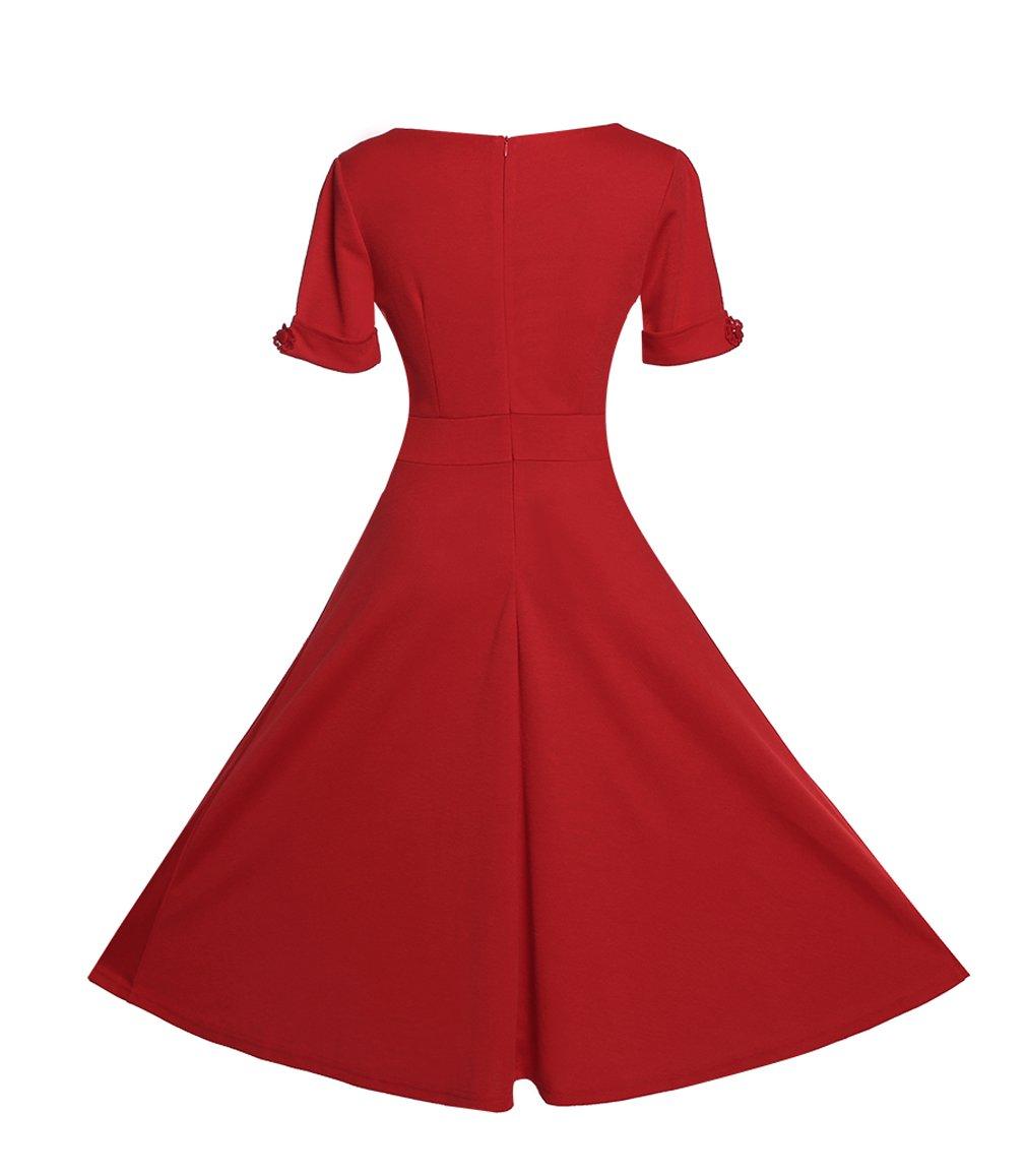 Relipop Women's Vintage V-neck Half Sleeve Dress Casual A-line Dresses 1