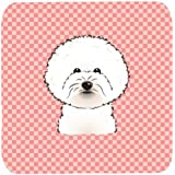 "Caroline's Treasures BB1217FC Checkerboard Pink Bichon Frise Foam Coaster (Set Of 4), 3.5"" H X 3.5"" W, Multicolor"