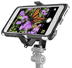 ChargerCity MegaGrab2 Easy-Adjust Smartphone Holder Mount & 360º Swivel Selfie Video Recording Camera Tripod Adapter for Apple iPhone 6s Plus 6 SE Samsung Galaxy S6 S7 Edge Note *Tripod not included