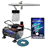 Airbrush Depot Brand Pro Siphon Feed Airbrushing System High Performance Multi-purpose Siphon Feed Dual-action Airbrush Kit with Hose and a Powerful 1/6hp Single Piston Quiet Air Compressor-The Complete Set Now Includes a (FREE) How to Airbrush Training Book to Get You Started