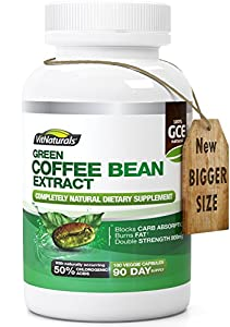 VitNaturals 800 mg Green Coffee Bean Extract - Pack of 180 Capsules