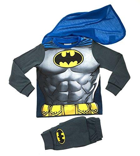 Kinder/Jungen Faschingskostüm - Lustiger Schlafanzug - Batman mit Cape - 7-8 Jahre