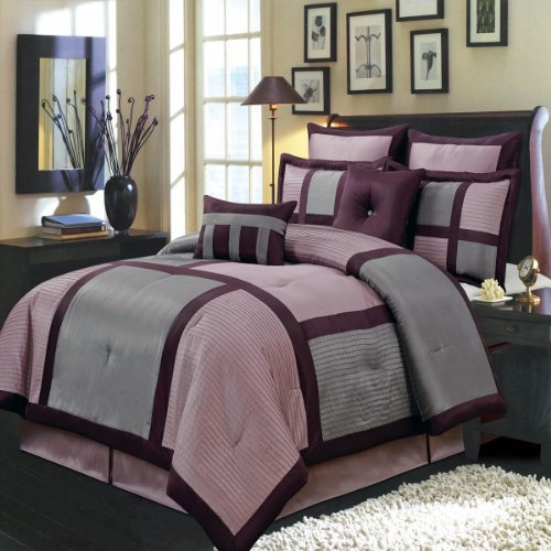 Morgan Purple And Gray King Size Luxury 12 Piece Comforter Set Includes Comforter, Bed Skirt, Pillow Shams, Decorative Pillows, Flat Sheet, Fitted Sheet, Pillowcases. front-106030