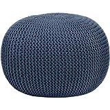 Urban Shop Round Knit Pouf, Blue