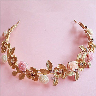 Sunshinesmile Wedding Bridal Crystal Flower Gold Hair Accessories Crown Headband Tiara Jewelry