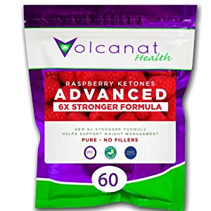 60 Volcanat Health Pure Raspberry Ketones 600mg Advanced 6 x Stronger Vegetarian Capsules Foil Pack - NO FILLERS - High Quality GMP Manufactured in the UK + Weightloss Advice