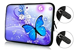 Colorfulbags Universal Blue Butterfly 11.6 12 12.1 12.2 inches Laptop Neoprene Soft Bag Computer Sleeve Cover Case Pouch For 11.6