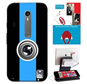 Motorola Moto G Turbo Edition Accessories Combo, Premium Quality Designer Printed 3D Lightweight Slim Matte Finish Hard Case Back Cover for Motorola Moto G Turbo Edition + Free Earphone Cable Organizer + Mobile Charging Holder/Stand