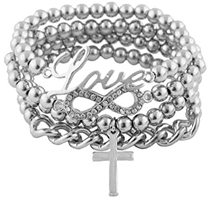 Ladies Silver with Clear Iced Out Infinity Sign Charm with Script Love Cross & Chain Bundle Stretch Bracelet