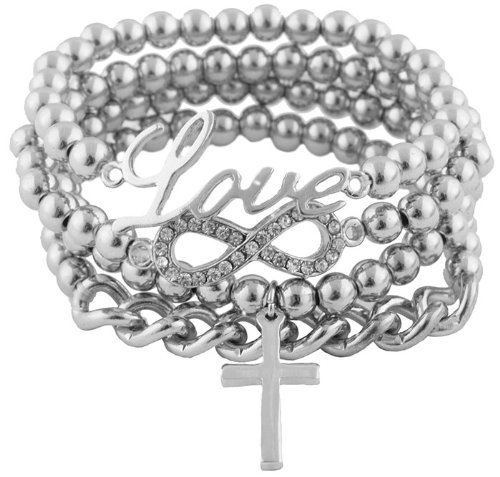 Ladies Silver  Clear Iced Out Infinity Sign Charm