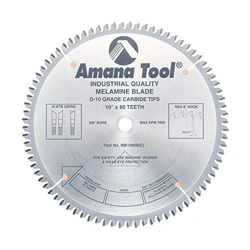 Amana Tool MB10800 Double Face Melamine 10-Inch x 80 Tooth H-ATB 5/8-Inch Bore Saw Blade (Amana Tools compare prices)