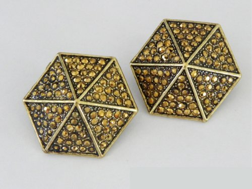 Bronze Dramatic Hexagon CLIP-ON Earrings with Bronze Rhinestone - Brown Jewelry