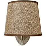 Dream Lighting NEW VERSION 12V Fabric Light Fixture with Flared Wall Sconce Shade - Wall Mount LED Decor Lamp with Switch - 0.24A, 3W, Brown Burlap