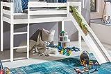 Kinderbett Hochbett mit rutsche Leiter Hochbett Spielbett Kiefer Massiv weiss