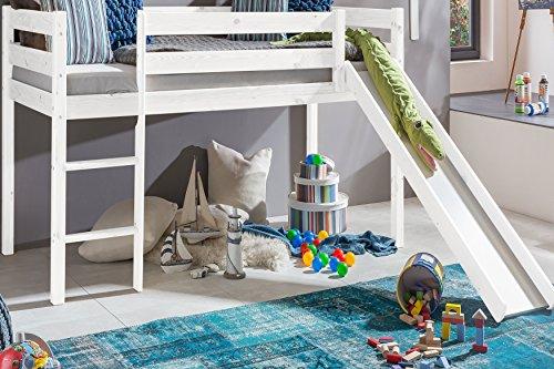 Kinderbett-Hochbett-mit-rutsche-Leiter-Hochbett-Spielbett-Kiefer-Massiv-weiss-oder-Unbehandelt-Weiss
