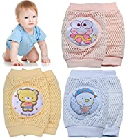 Pro1rise 3 Pairs Baby Crawling Knee Pads Super Breathable Adjustable Cartoon Kneepads Knee Elbow Pads Arm Pads Safety Protector For 9-24 Months Toddler Girls and Boys, 100% Satisfaction from Pro1rise