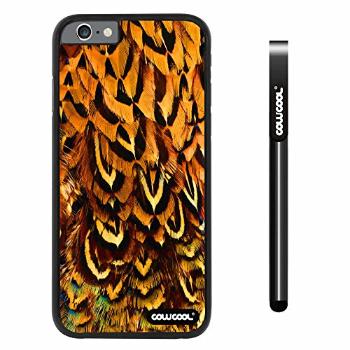 Cowcool® Apple Iphone 6 4.7 Inch Case Hard Pc Colorful Feathers Black Shell Single Layer Protective Case (#12)