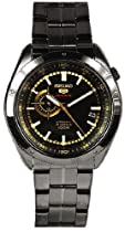 Seiko 5 Black Dial Black Ion-plated Mens Watch SSA071