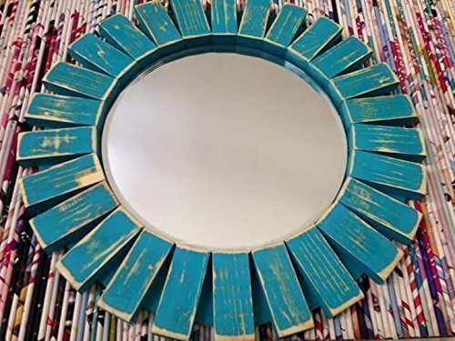 Sunburst Wall Mirror Round Wood Frame Red 22'' Flamingo Red 8