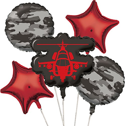 Creative Converting 5 Piece Operation Camo Metallic Balloon Cluster, Gray