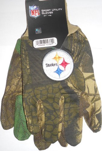 Pittsburgh Steelers Camouflage Nfl All Purpose Utility Grip Gloves front-413576