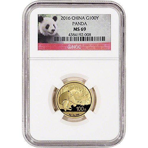 2016 CN China Gold Panda (8 g) Red Panda Label 100 Yuan MS69 NGC