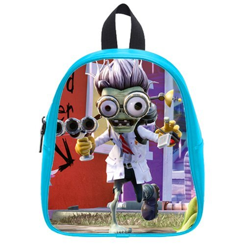 Generic Custom Zombie With Purple Hair And White Cloth Printed Deep Sky Blue School Bag Backpack Fit Short Trip Pu Leather Small front-65468