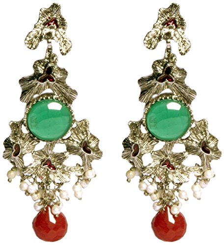 Red New Choice White Base Single Green Stone And Red Droplet Dangler Earring For Women (Multicolor)