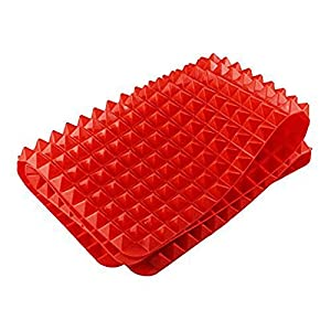 DuaFire Silicone Baking Roasting Mats and Pans, Non Stick Raised Cone Shaped, 39 cm X 27 cm, Red