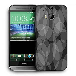 Snoogg Grey Circles Black Pattern Printed Protective Phone Back Case Cover For HTC One M8